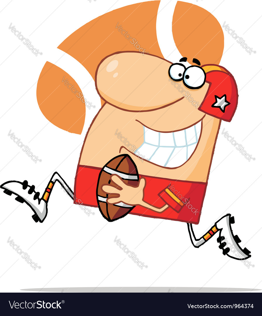 Caucasian football guy in red vector | Price: 1 Credit (USD $1)