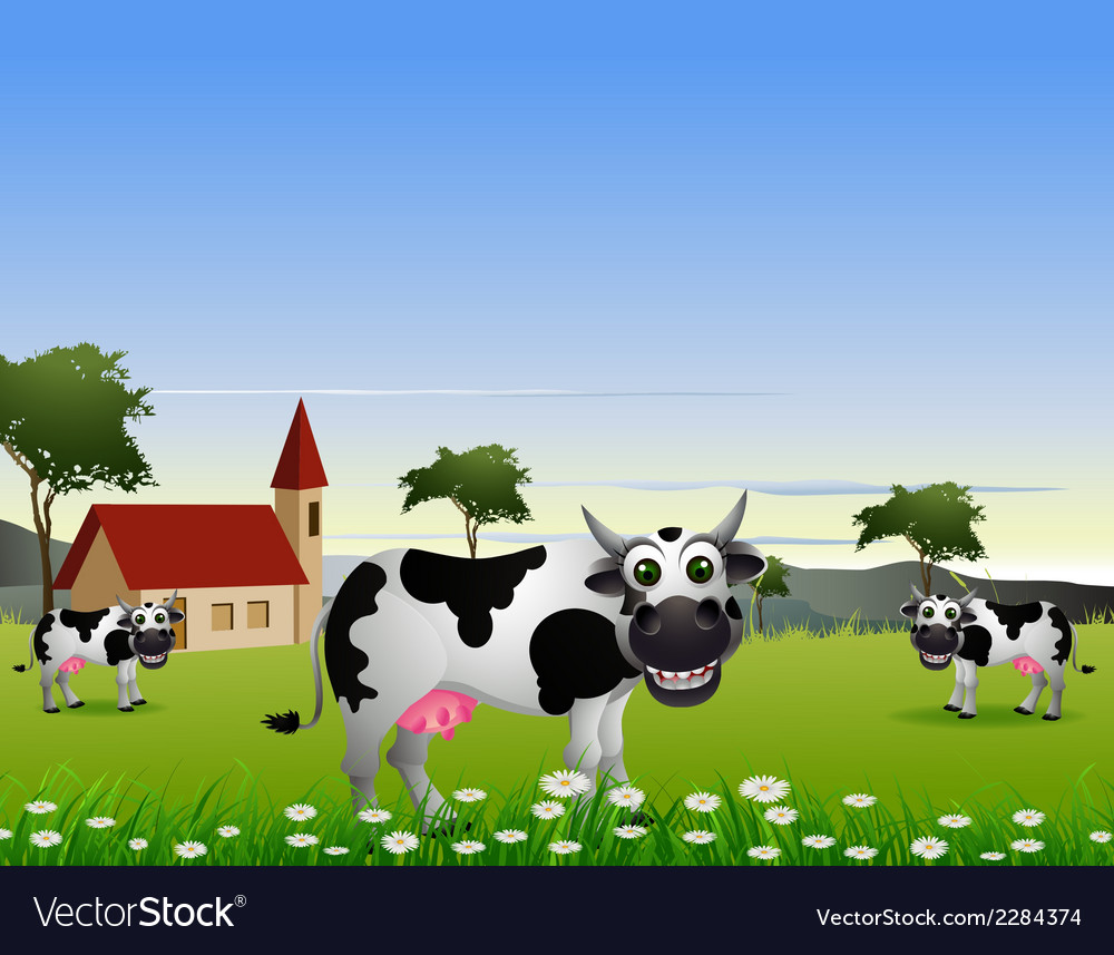 Cute cow cartoon with landscape background vector | Price: 3 Credit (USD $3)