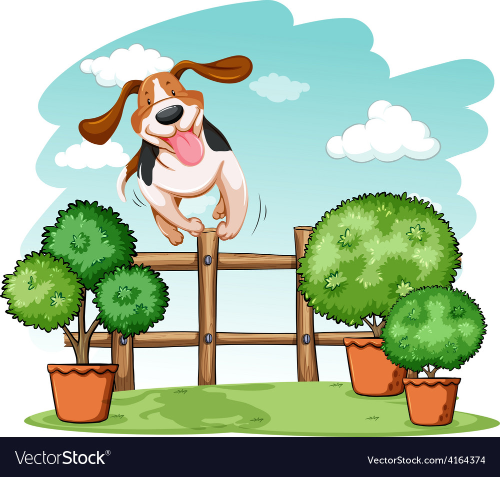 Dog jumping over the fence vector | Price: 3 Credit (USD $3)