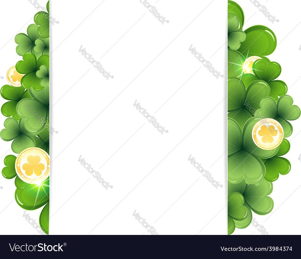 Leprechaun coins on clover background vector | Price: 1 Credit (USD $1)