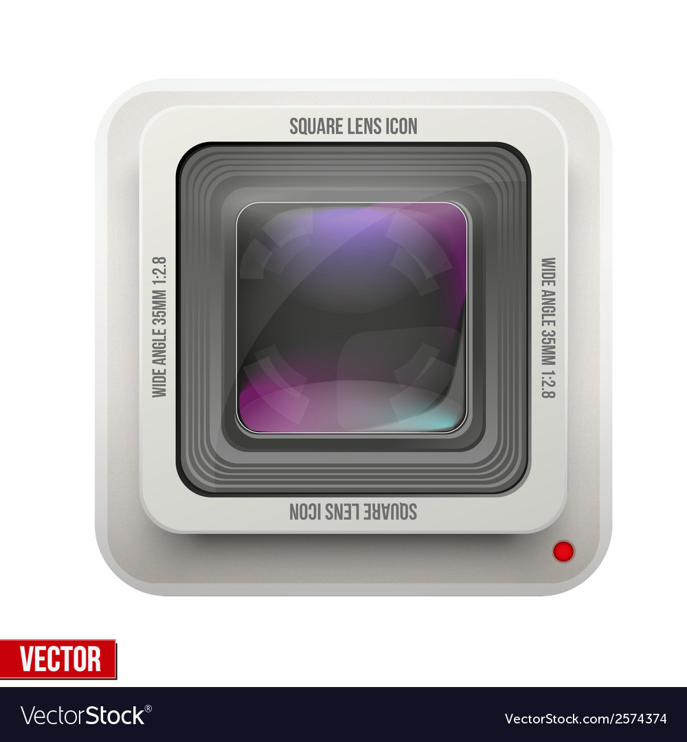 The square icon photography or video lens vector | Price: 1 Credit (USD $1)
