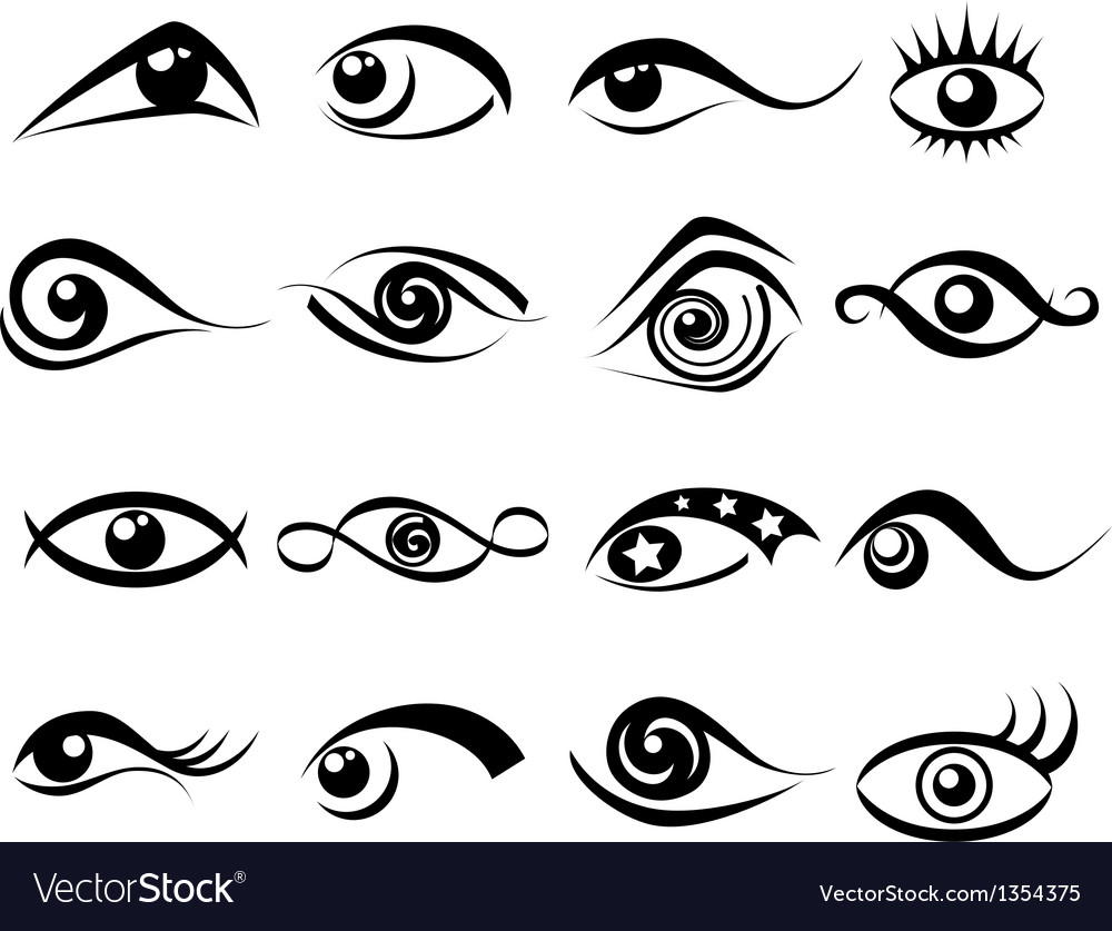 Abstract eye symbol set vector | Price: 1 Credit (USD $1)