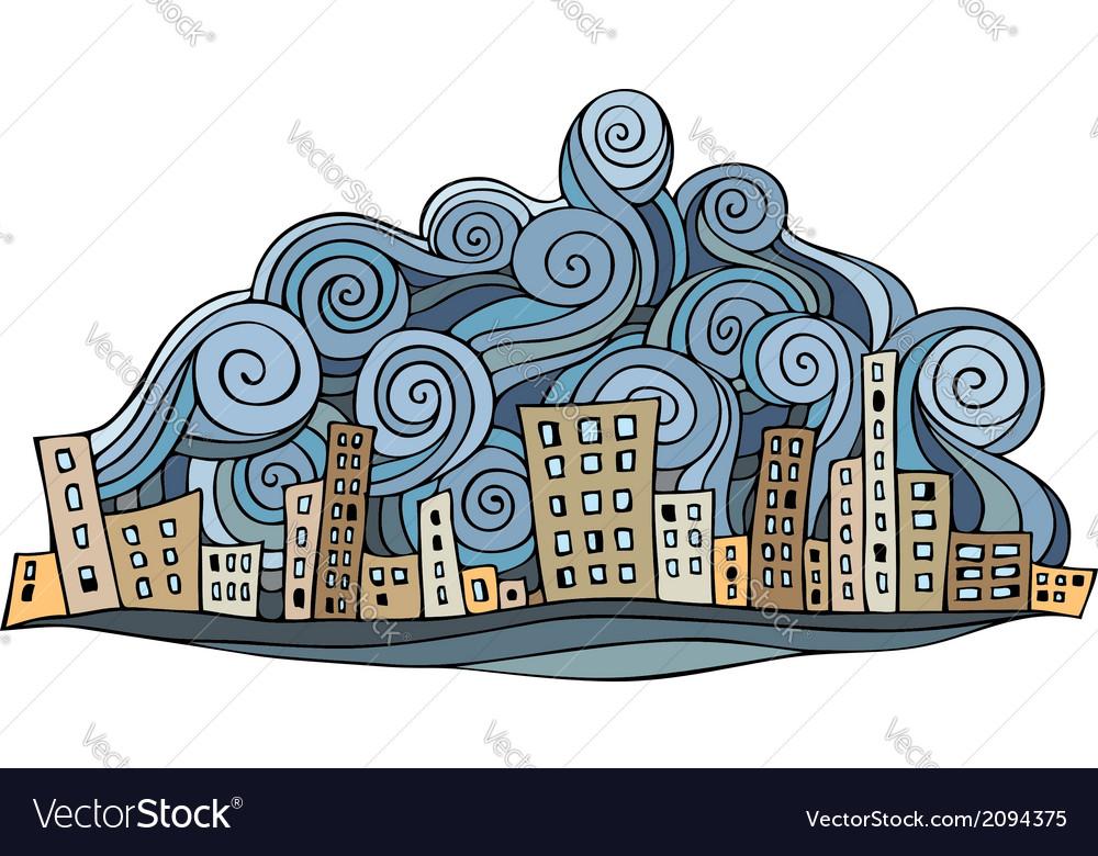 Cartoon abstract city vector | Price: 1 Credit (USD $1)