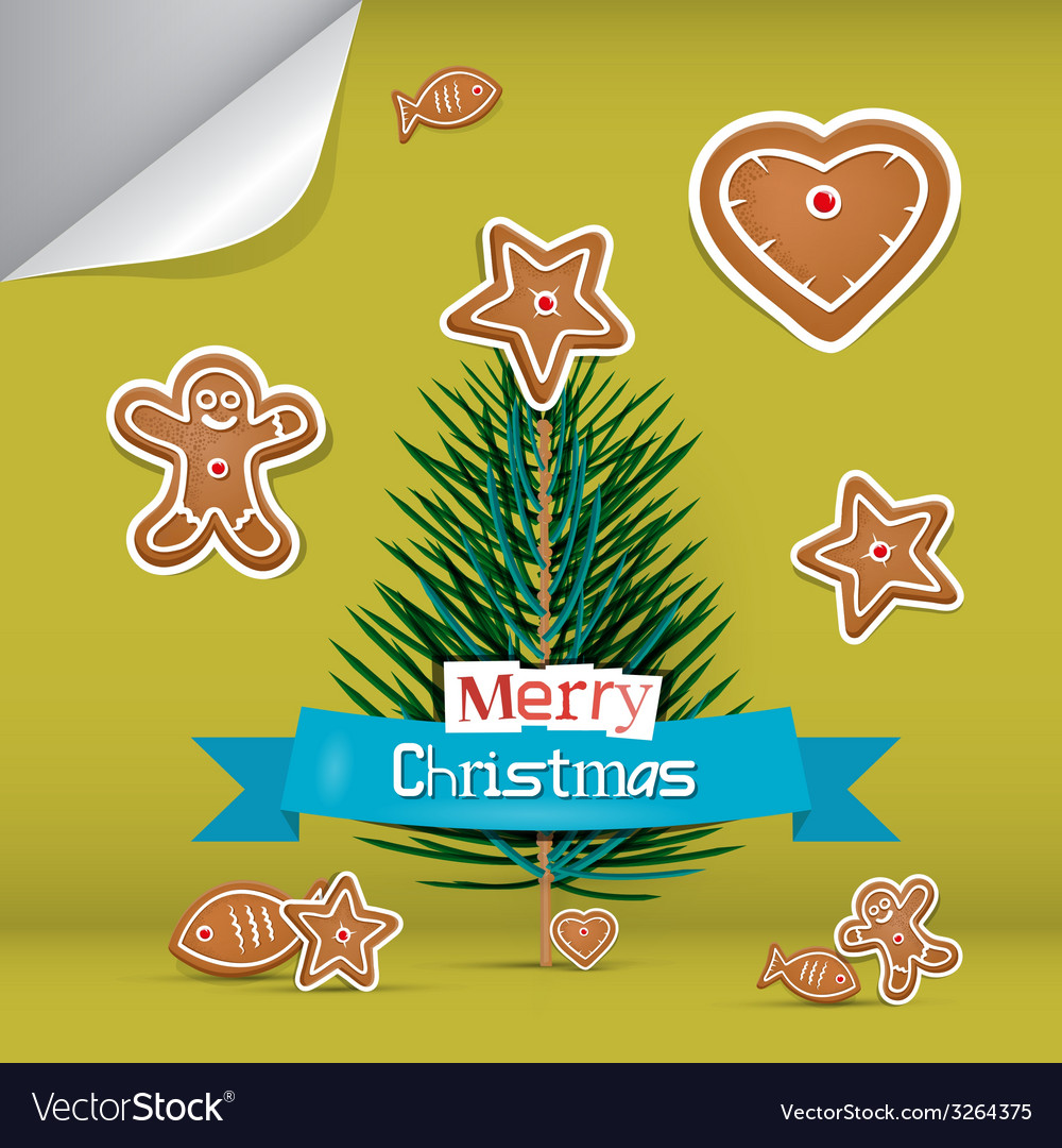 Christmas card with gingerbread and branch - tree vector | Price: 1 Credit (USD $1)