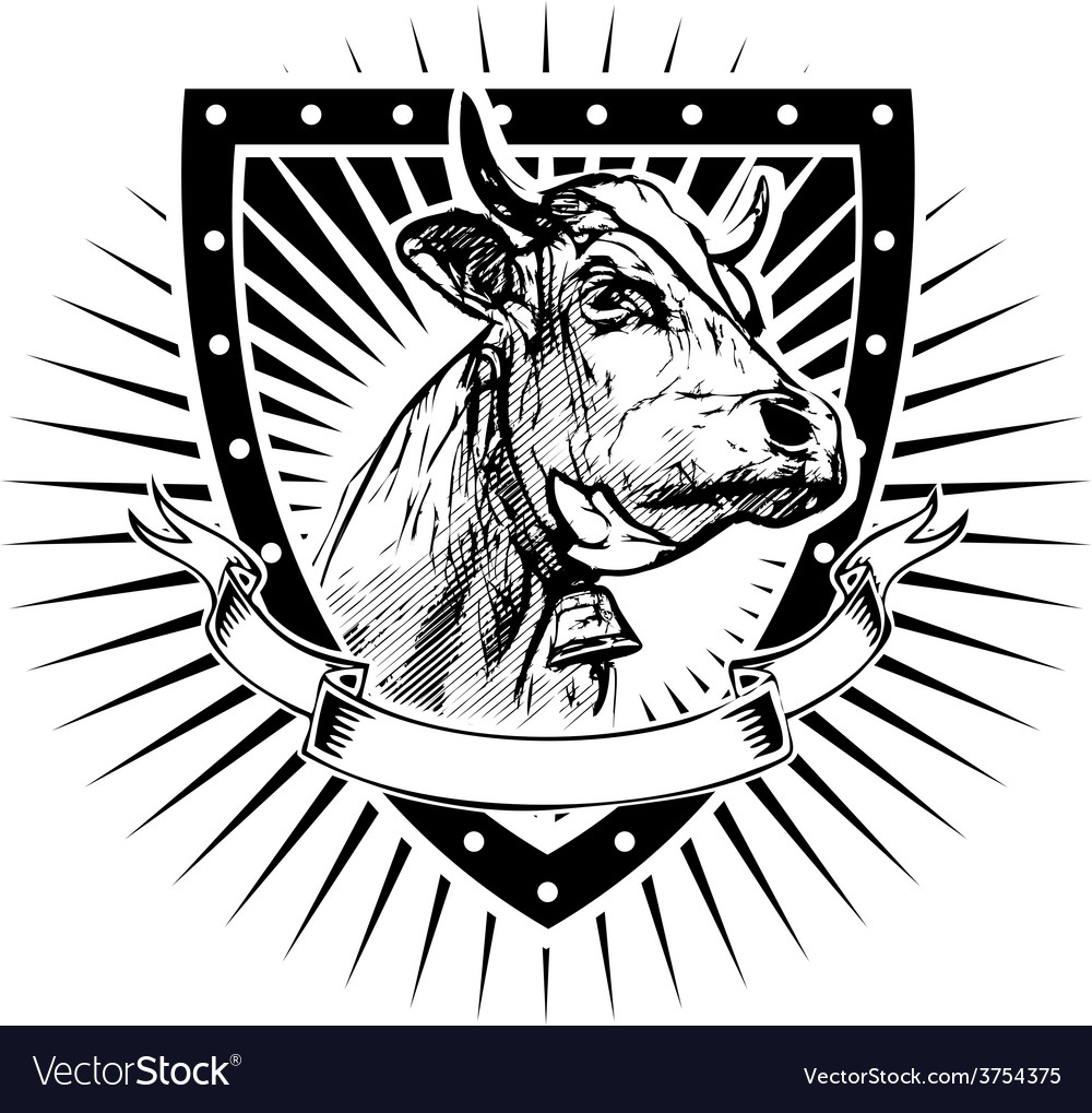 Cow shield vector | Price: 3 Credit (USD $3)