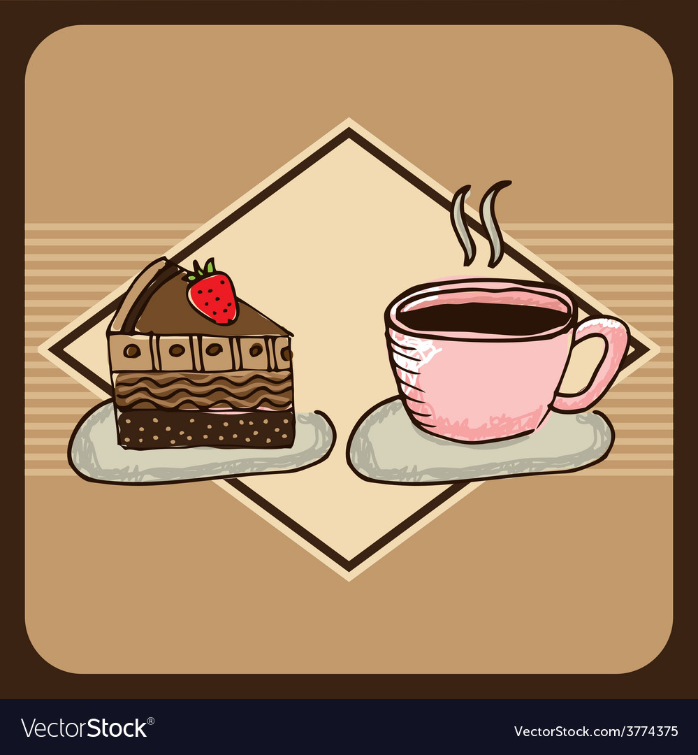 Delicious coffee and cake vector | Price: 1 Credit (USD $1)