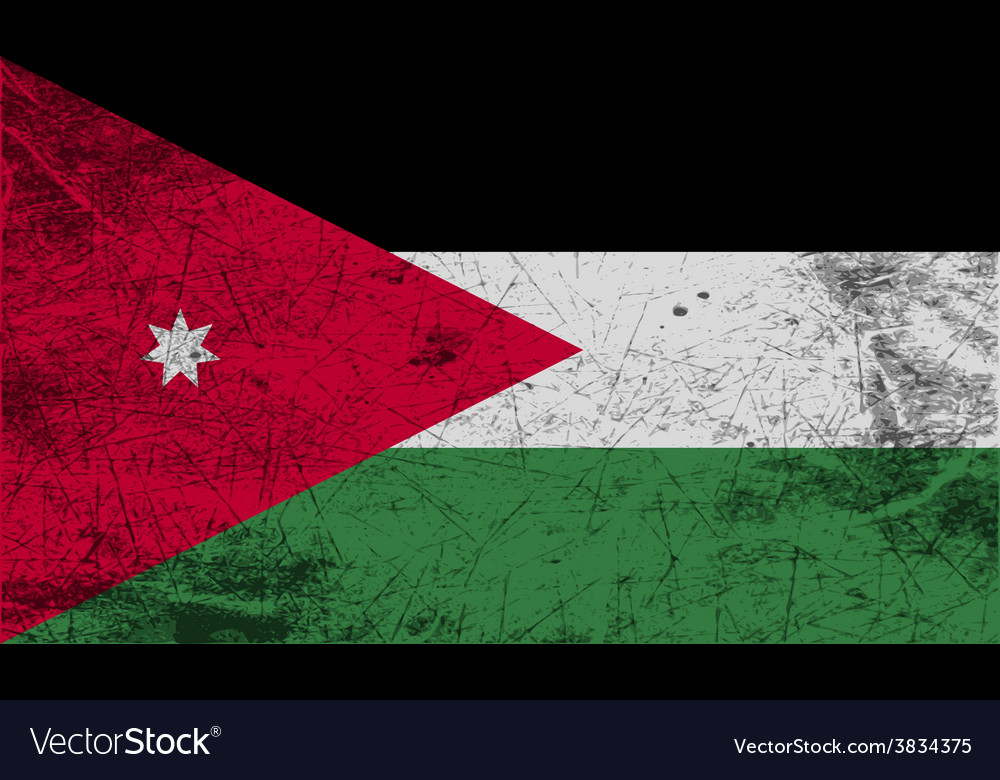 Flag of jordan with old texture vector | Price: 1 Credit (USD $1)