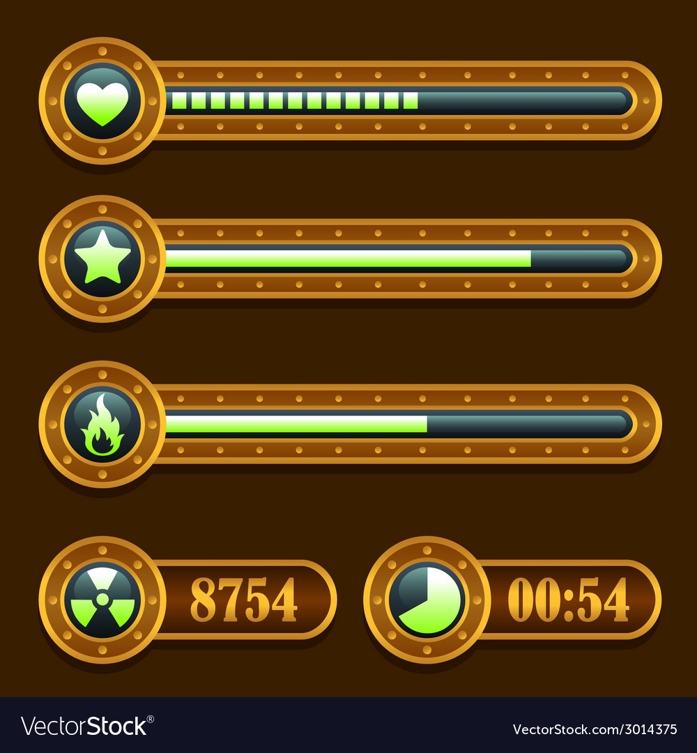 Game steampunk energy time progress bar icons set vector | Price: 1 Credit (USD $1)