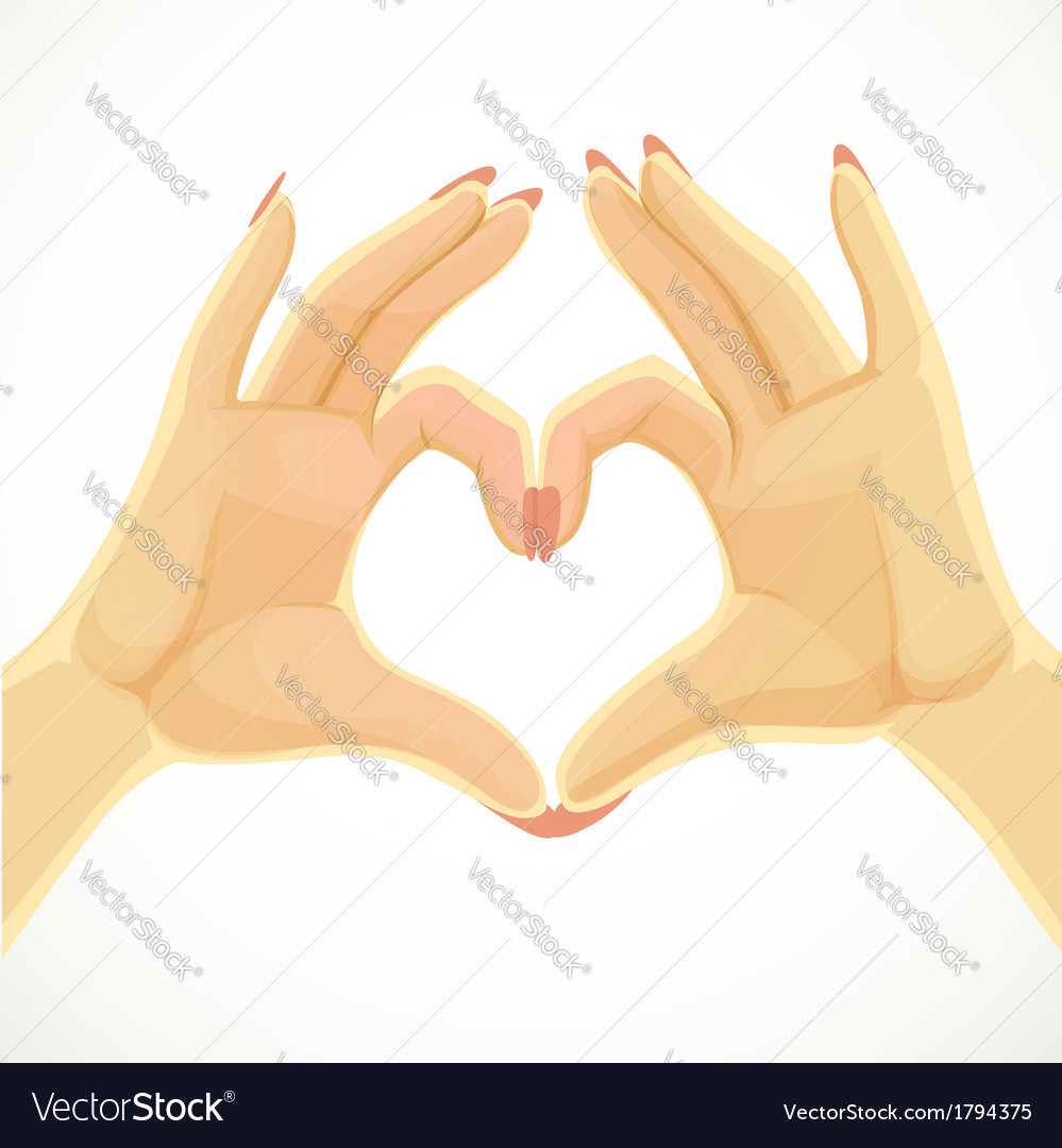 Heart folded of beautiful female hands isolated on vector | Price: 1 Credit (USD $1)