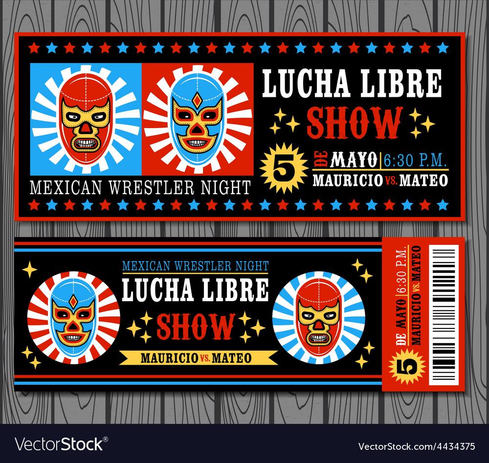 Mexican wrestler set lucha libre vector