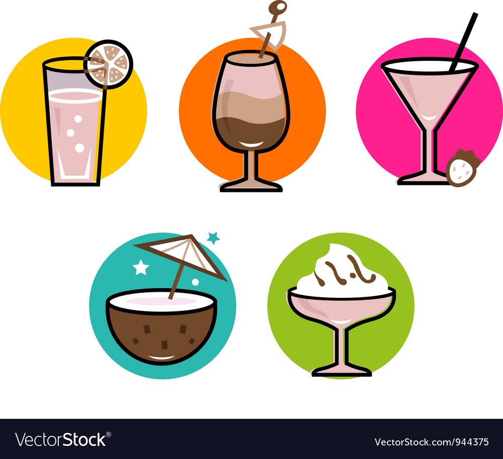 Retro drink icons vector | Price: 1 Credit (USD $1)