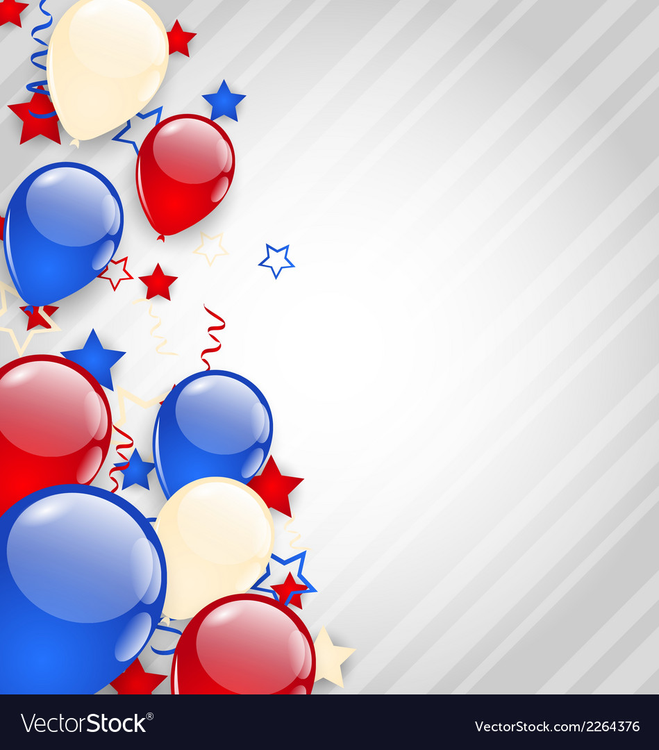 American background with colorful balloons for 4th vector | Price: 1 Credit (USD $1)