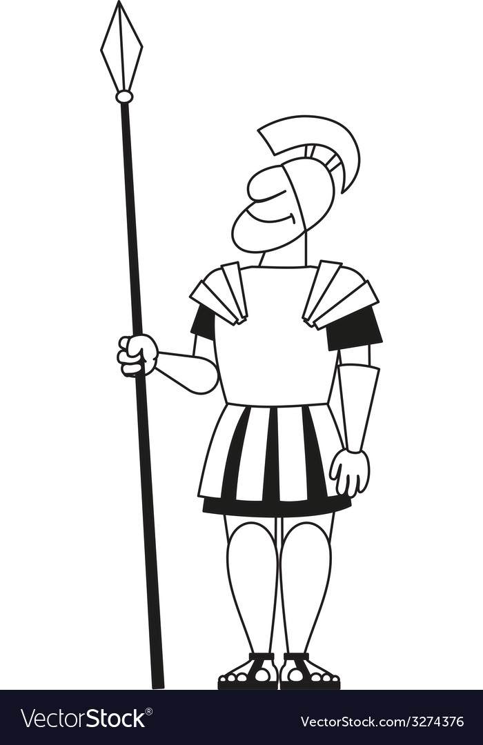 Ancient warrior pikeman bw vector | Price: 1 Credit (USD $1)