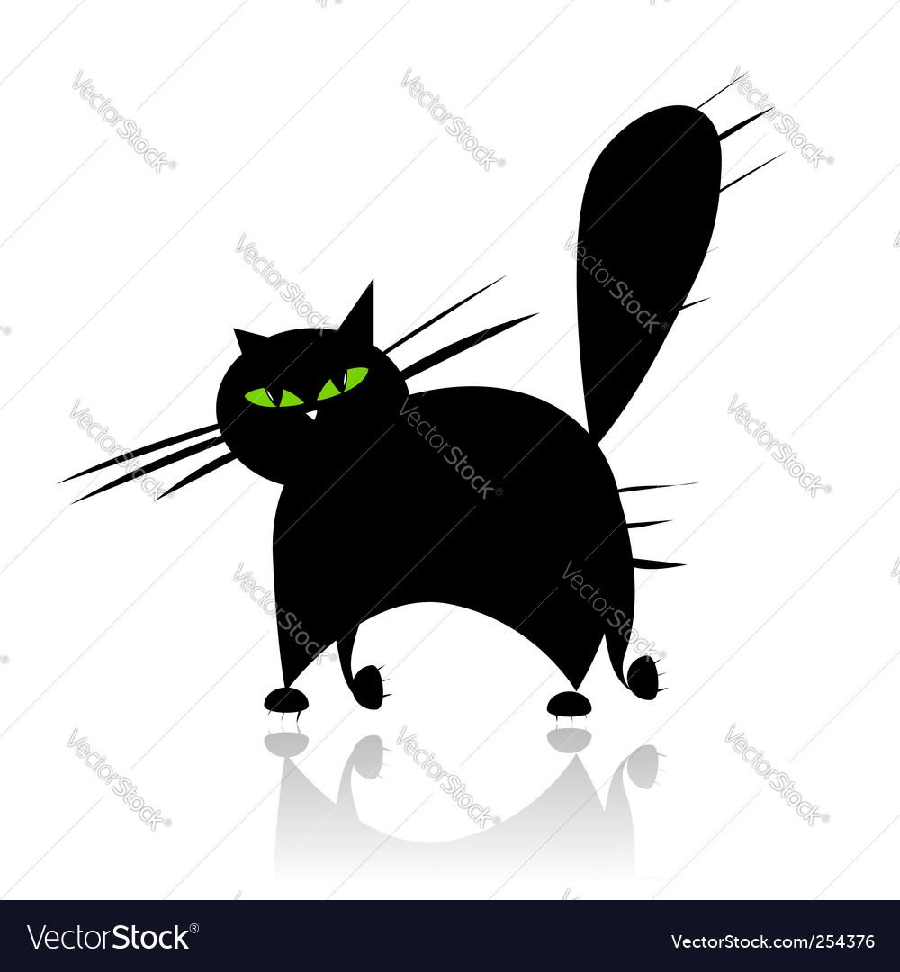 Cat silhouette vector | Price: 1 Credit (USD $1)