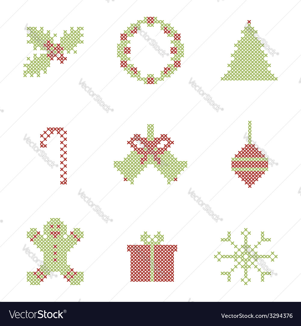 Christmas embroidered elements vector | Price: 1 Credit (USD $1)