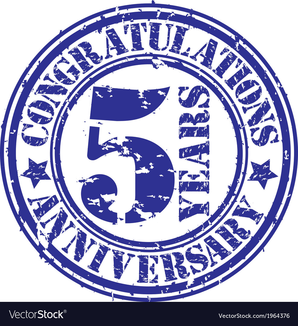 Congratulations 5 years anniversary grunge rubber vector | Price: 1 Credit (USD $1)