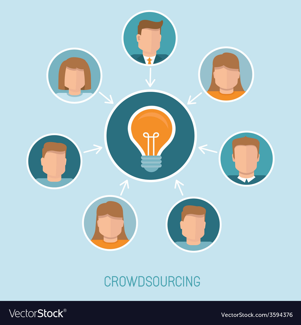 Crowdsourcing concept in flat style vector | Price: 1 Credit (USD $1)