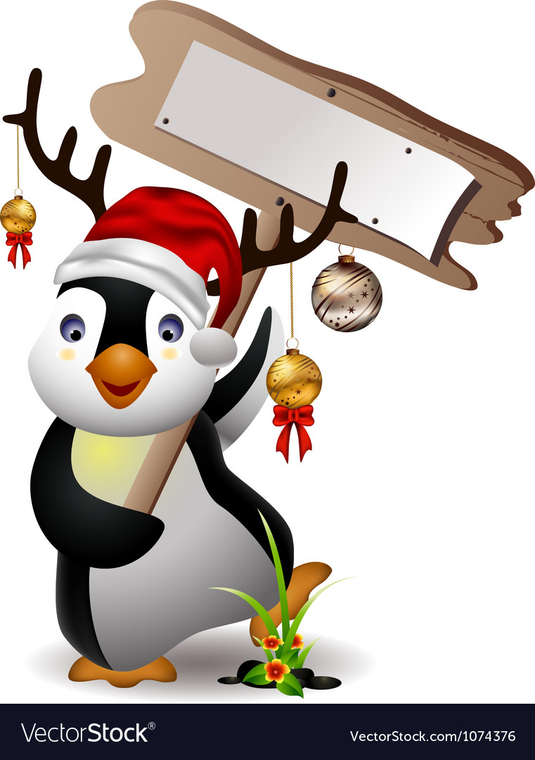 Cute penguin christmas cartoon with blank board vector | Price: 3 Credit (USD $3)