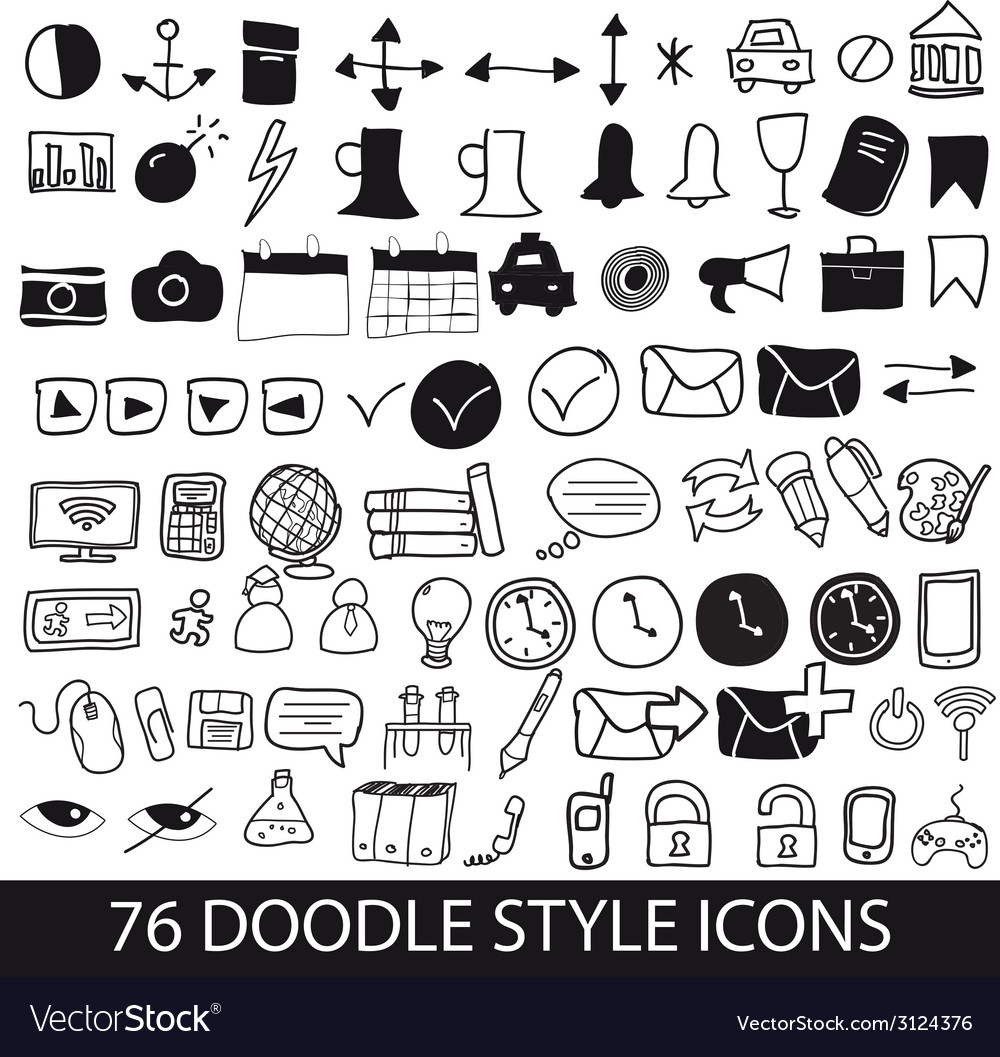 Doodle style icons vector | Price: 1 Credit (USD $1)