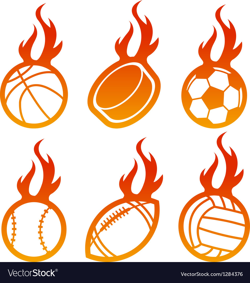 Fire sport balls logo vector | Price: 1 Credit (USD $1)