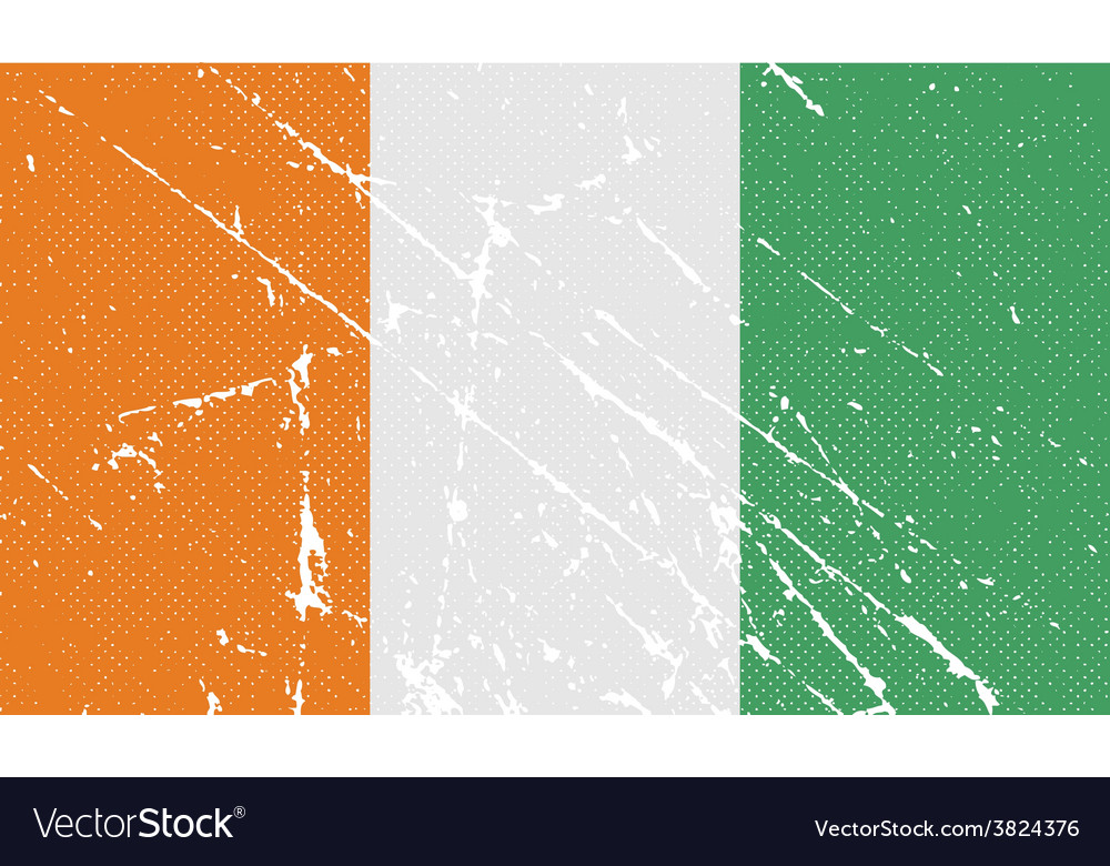 Flag of cote divoire with old texture vector | Price: 1 Credit (USD $1)