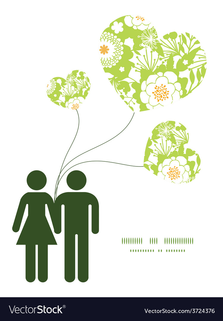Green and golden garden silhouettes couple vector | Price: 1 Credit (USD $1)