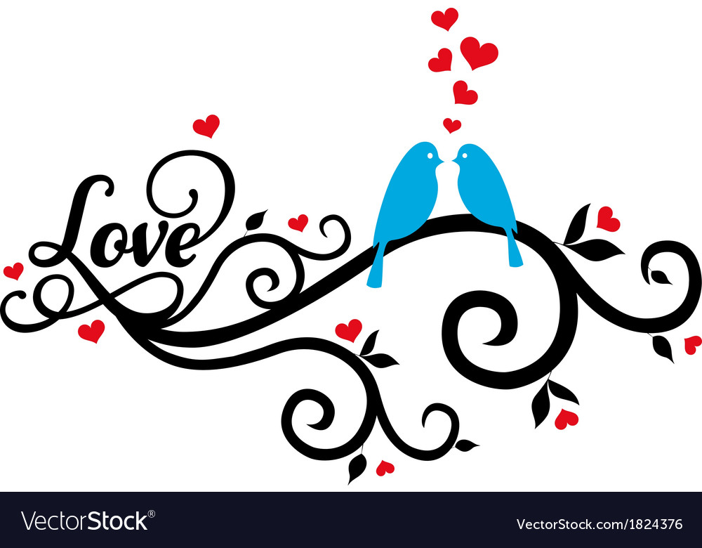 Love birds with red hearts vector | Price: 1 Credit (USD $1)