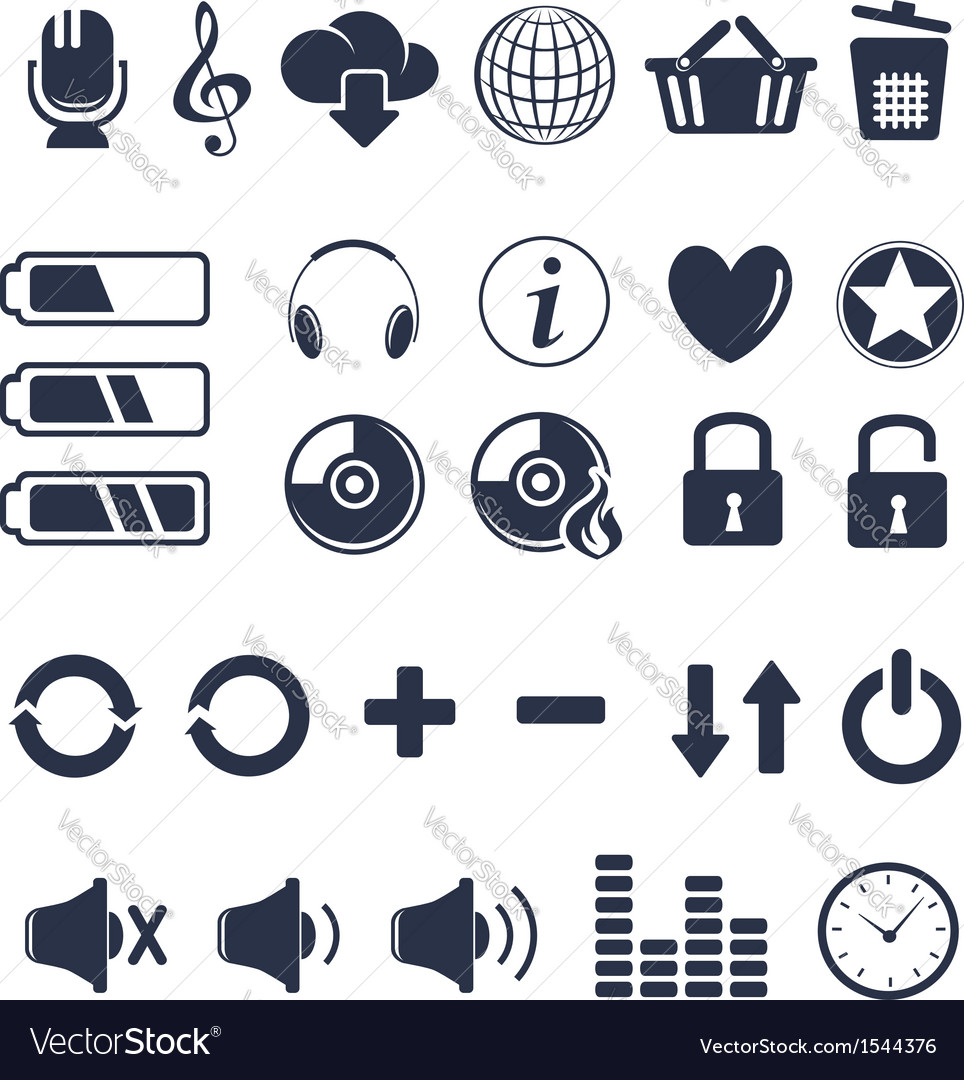 Media player universal icons vector | Price:  Credit (USD $)