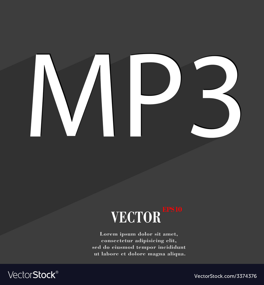 Mp3 music format icon symbol flat modern web vector | Price: 1 Credit (USD $1)