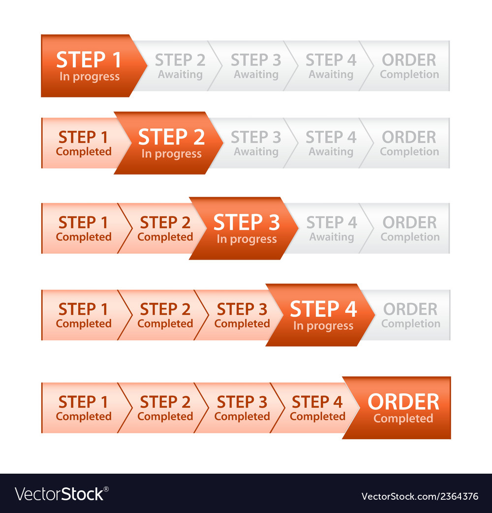Orange progress bar for order process vector | Price: 1 Credit (USD $1)
