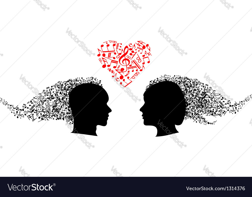 People heads with musical notes vector | Price: 1 Credit (USD $1)