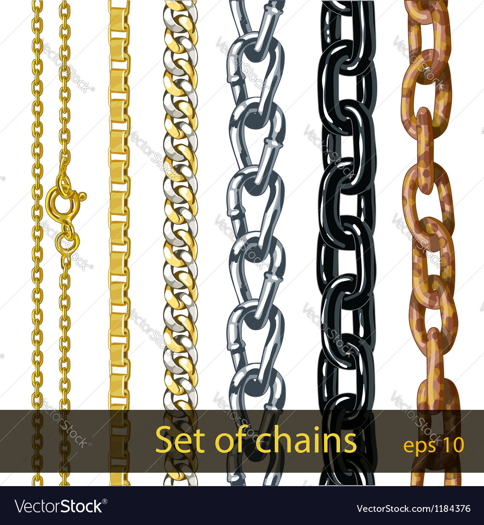 Set of chains gold silver steel painted metal vector | Price: 1 Credit (USD $1)