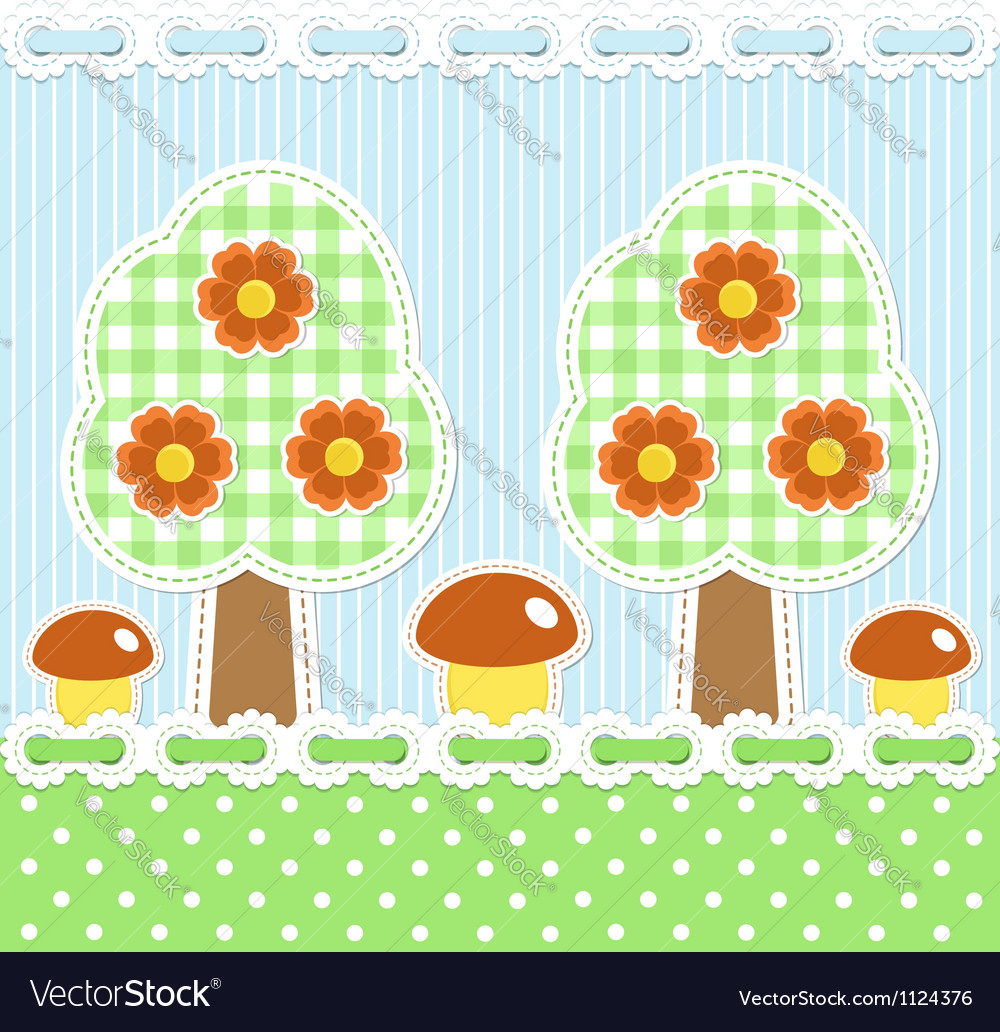 Summer forest background with mushrooms vector | Price:  Credit (USD $)