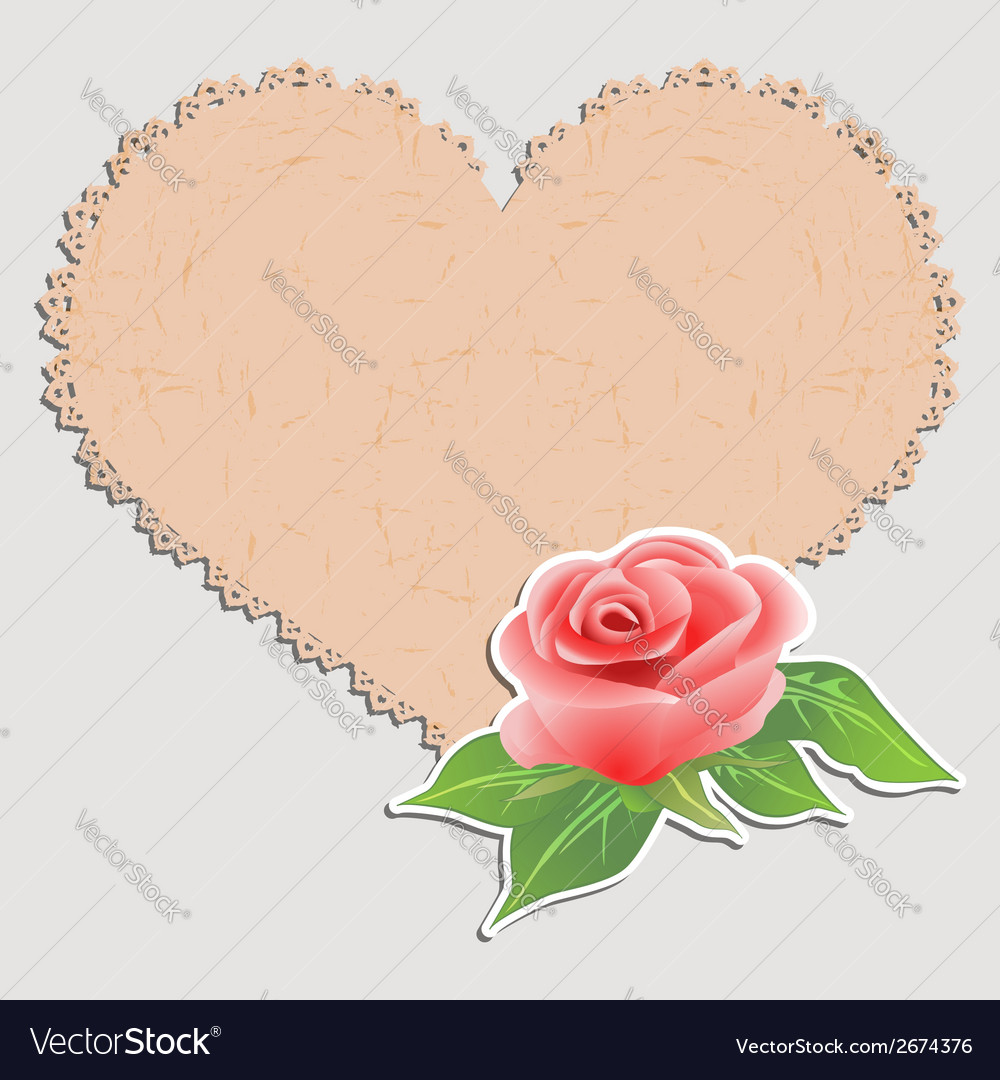 Vintage greeting card doily in the form of heart vector | Price: 1 Credit (USD $1)