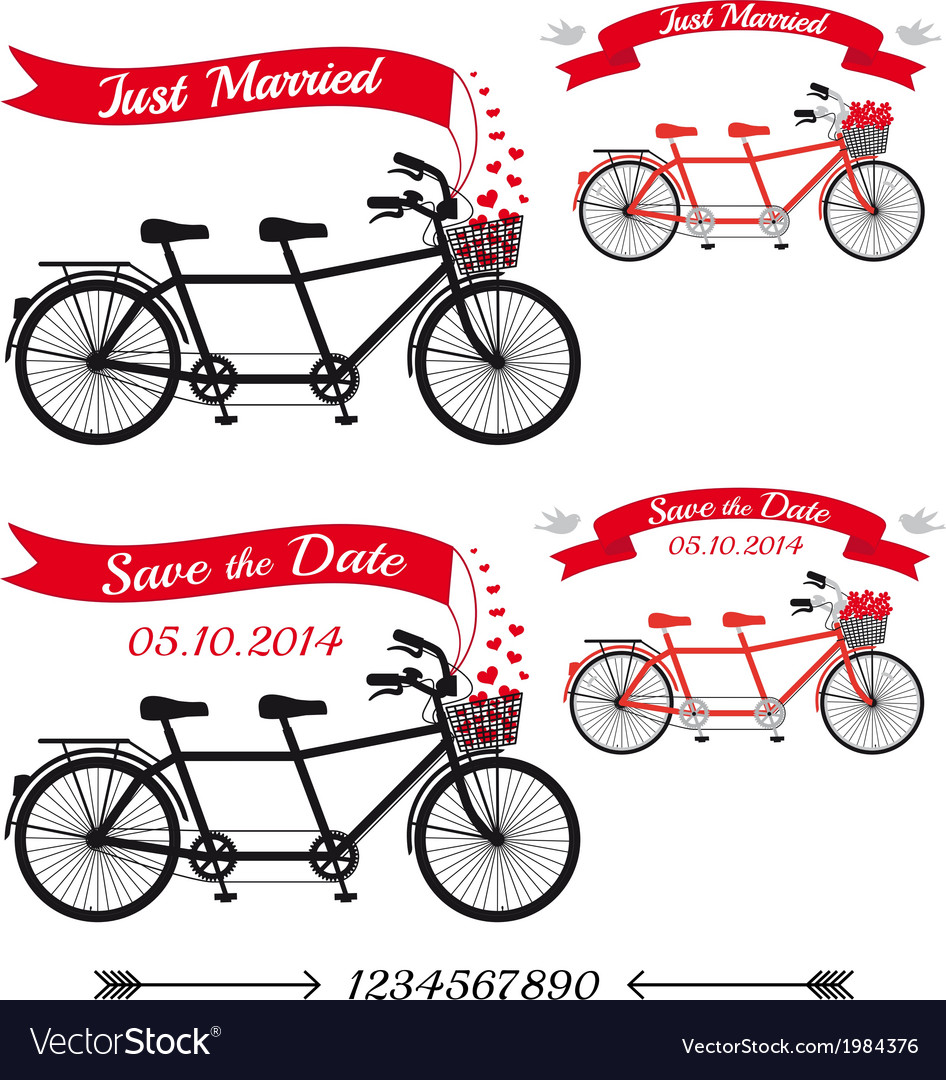 Wedding tandem bicycles set vector | Price: 1 Credit (USD $1)