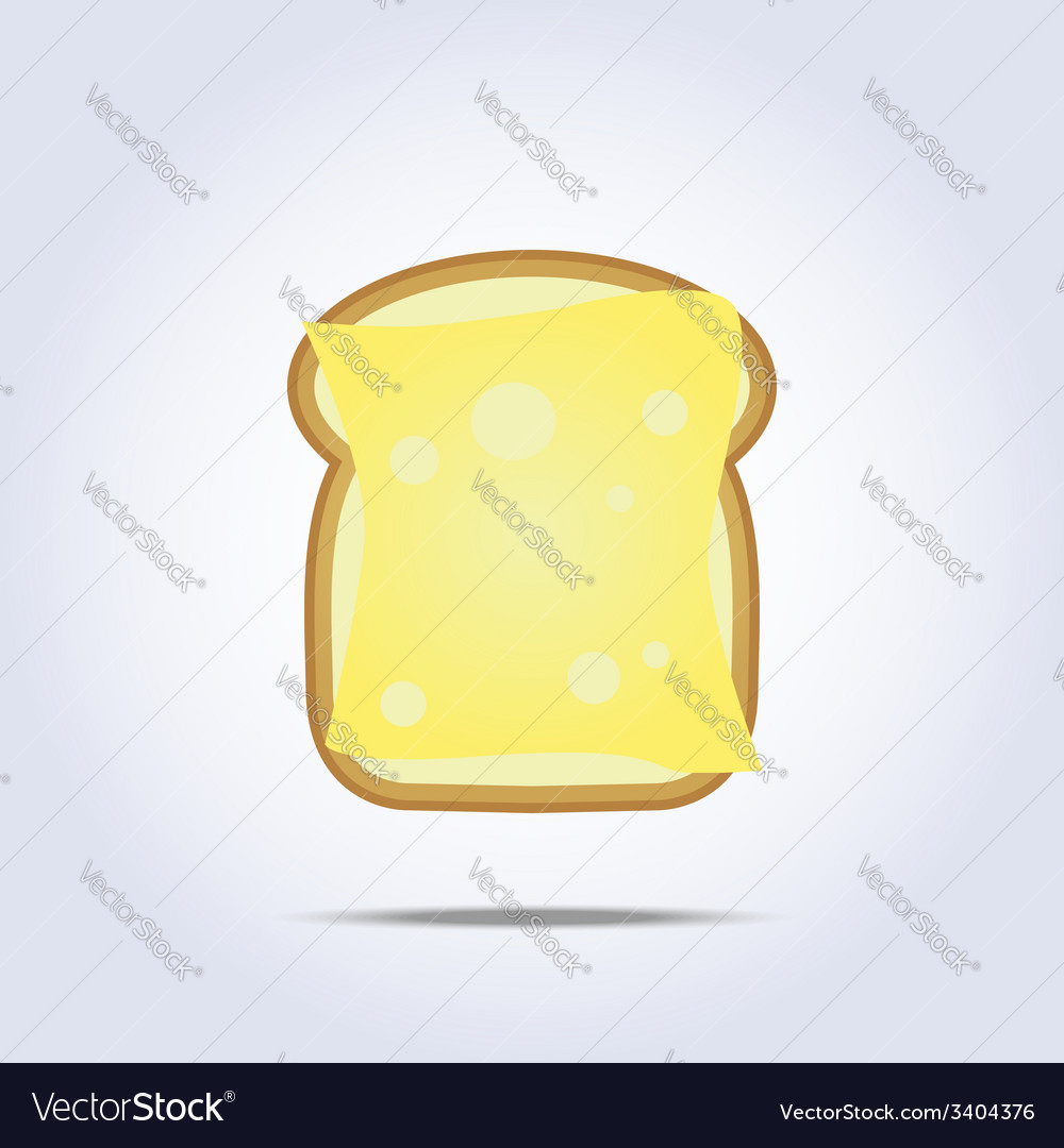 White bread toast icon with cheese vector | Price: 1 Credit (USD $1)