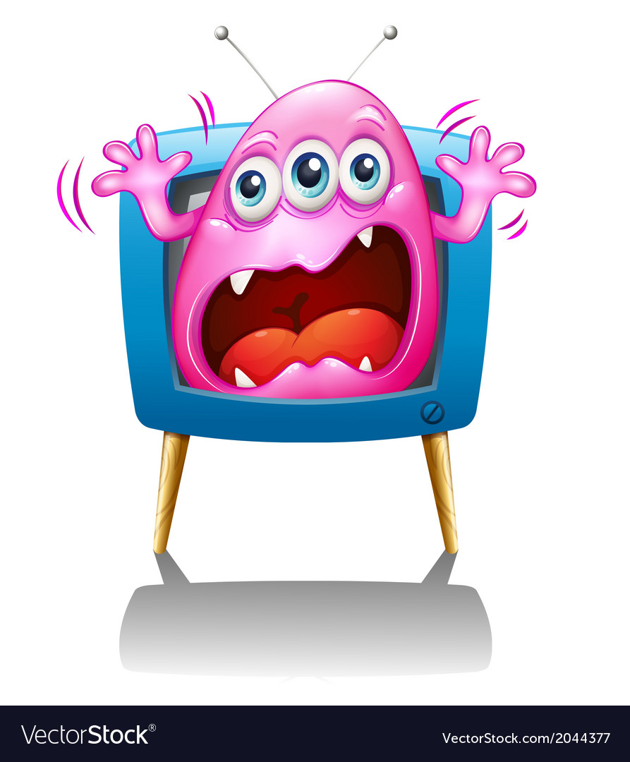 A tv with a pink monster screaming vector | Price: 1 Credit (USD $1)
