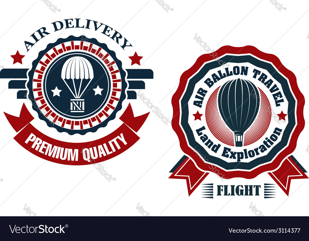 Air delivery and hot air balloon badges vector | Price: 1 Credit (USD $1)