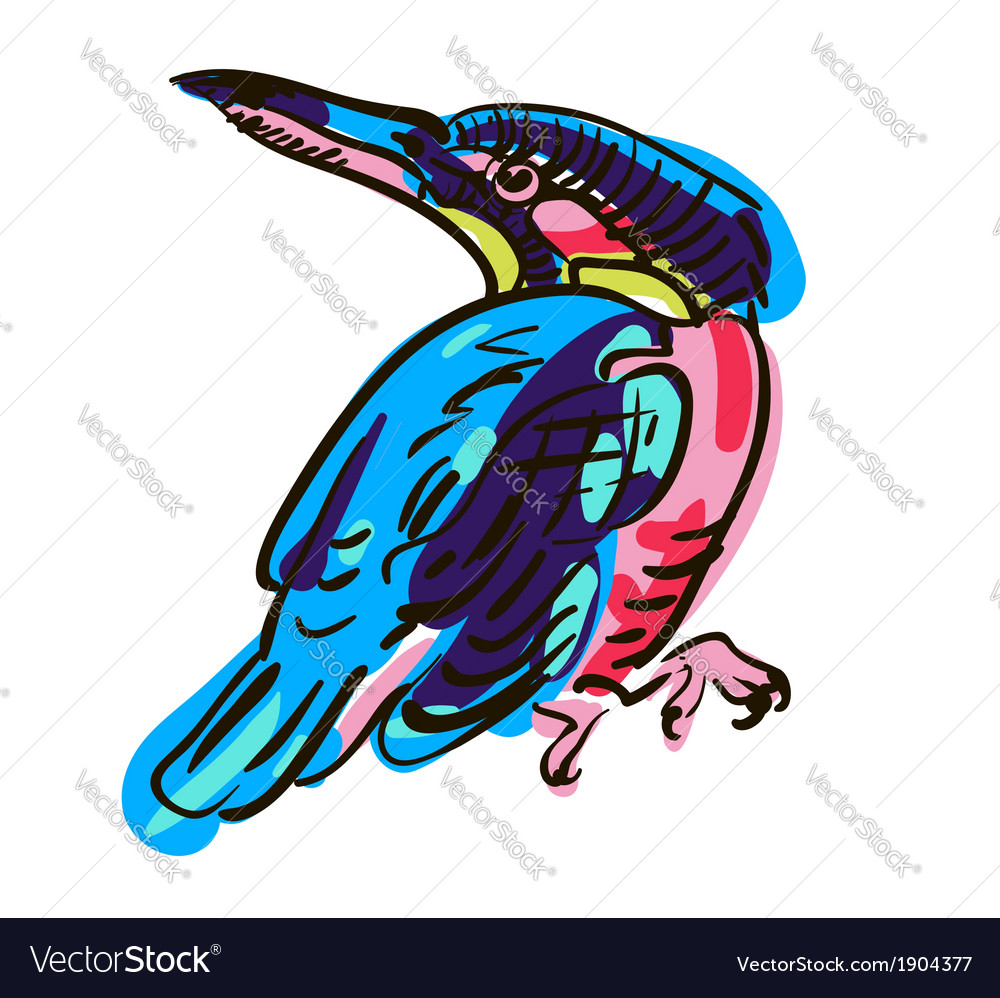 Artistic bird sketch vector | Price: 1 Credit (USD $1)