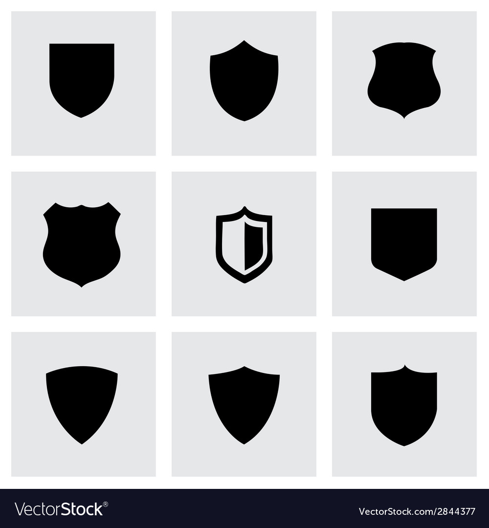 Black shield icons set vector
