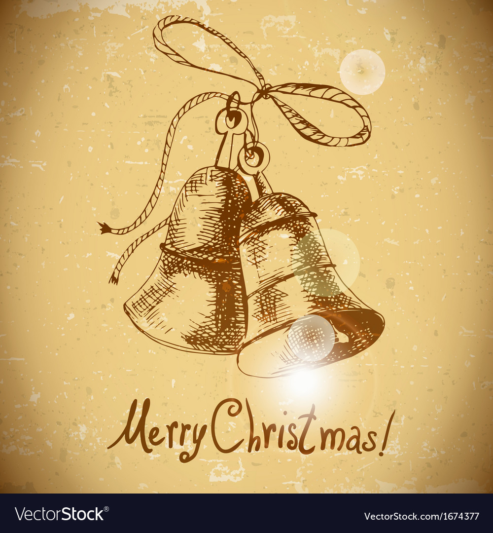 Christmas bell vintage background vector | Price: 1 Credit (USD $1)