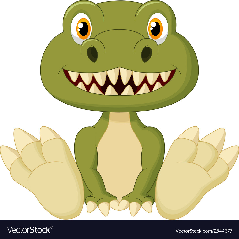 Cute baby tyrannosaurus cartoon vector | Price: 1 Credit (USD $1)