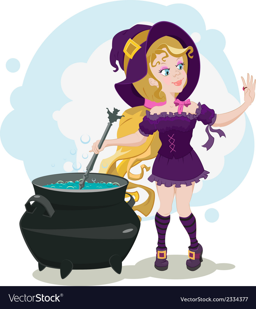 Cute witch cooks potion and admires ring vector | Price: 1 Credit (USD $1)