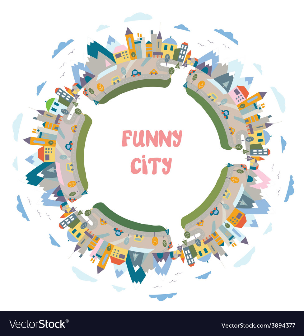 Funny town round frame  design element vector