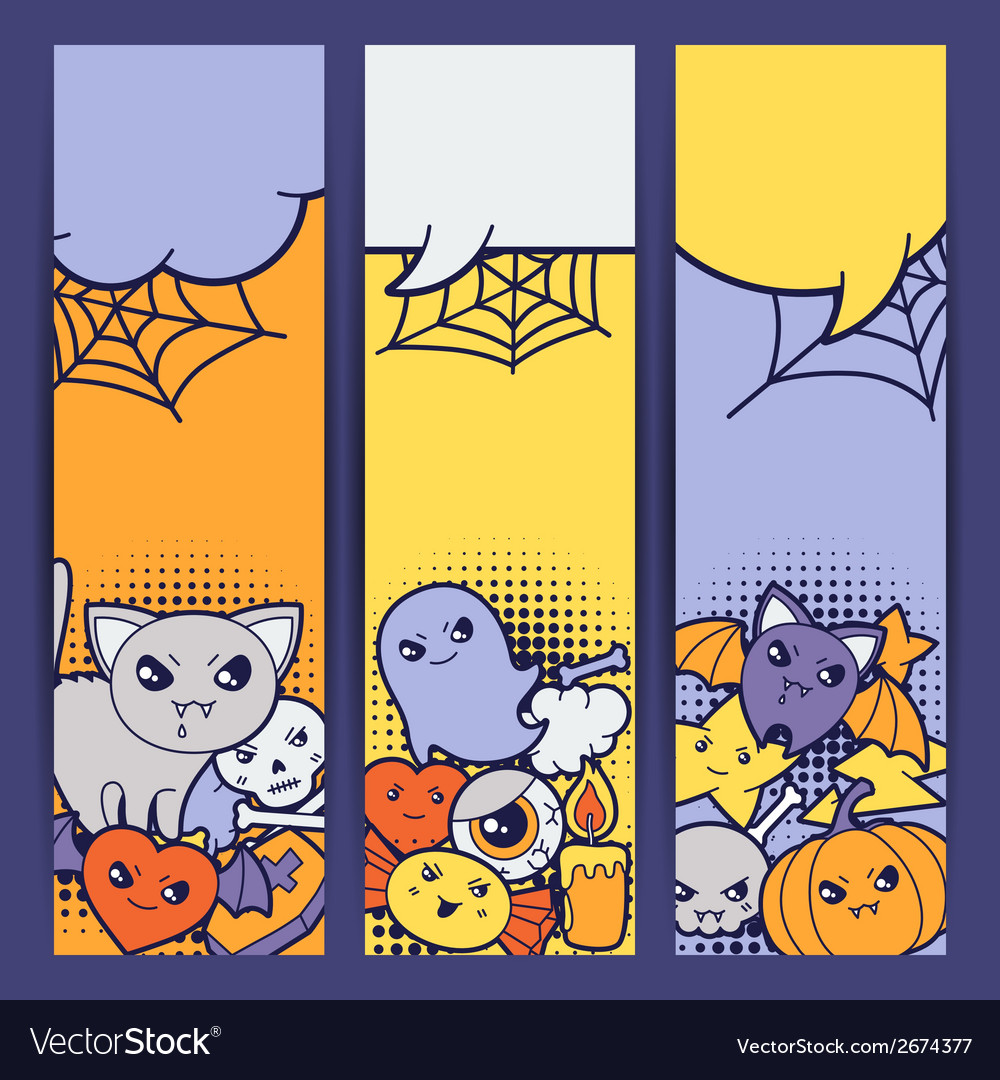 Halloween kawaii vertical banners with cute vector | Price: 1 Credit (USD $1)