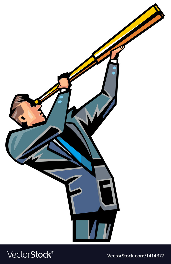Man holding telescope vector | Price: 1 Credit (USD $1)