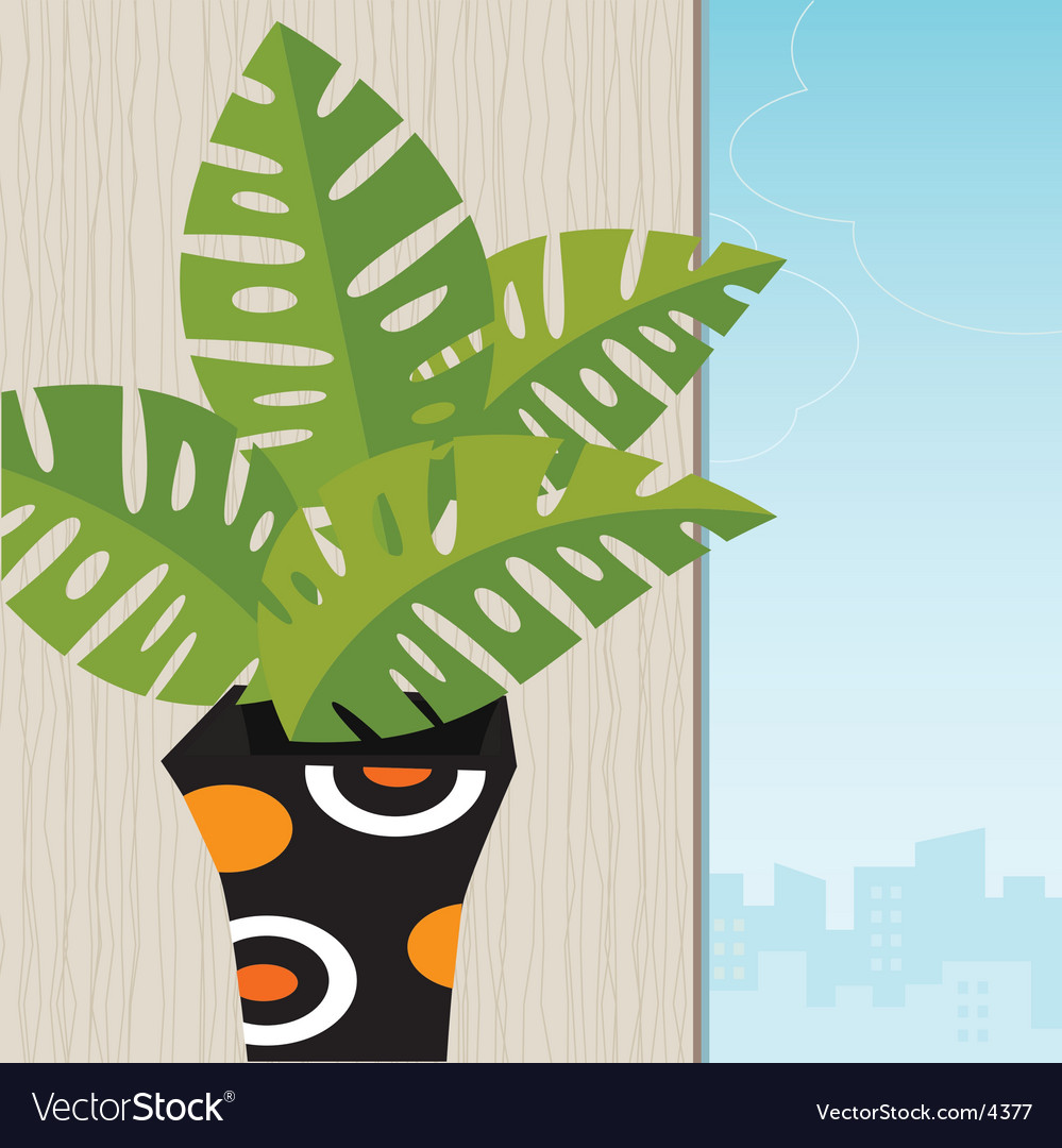 Tropical plant retro-stylized vector | Price: 1 Credit (USD $1)