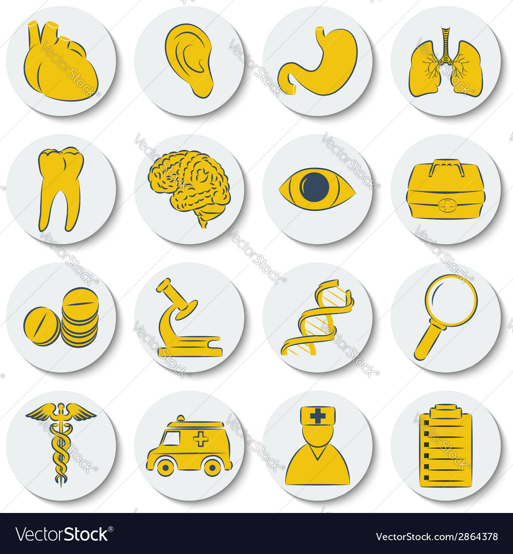 A set of flat round icons on medical subjects vector | Price: 1 Credit (USD $1)