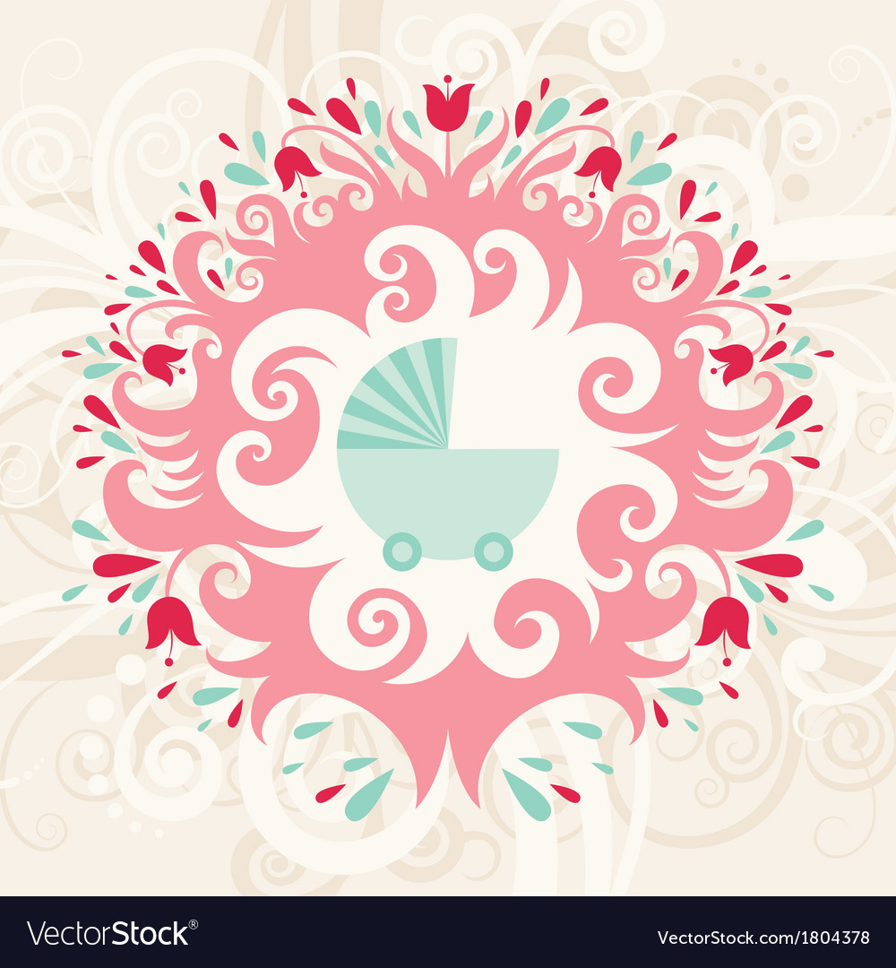 Baby birthday card vector | Price: 1 Credit (USD $1)