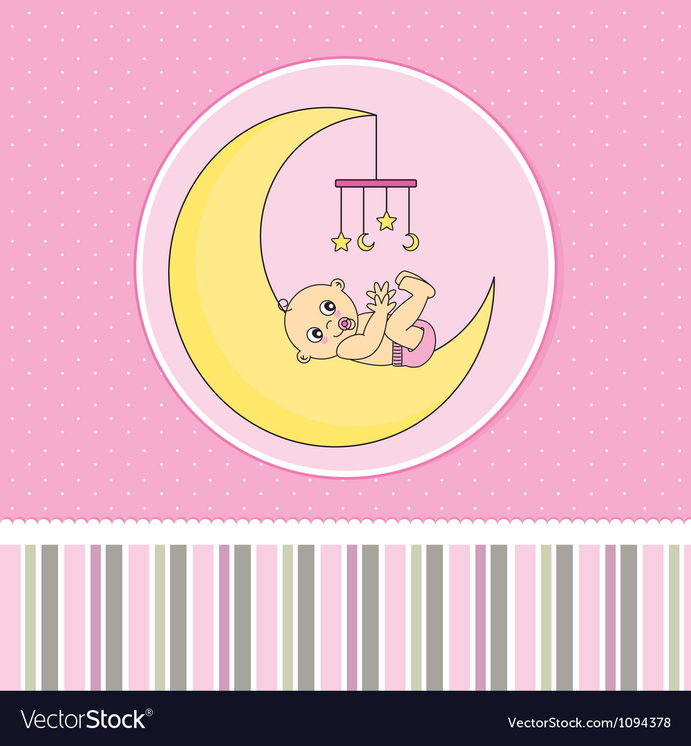 Baby girl birth announcement card vector | Price: 1 Credit (USD $1)